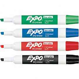 Expo Low-Odor Dry Erase Marker, Assorted Color Chisel